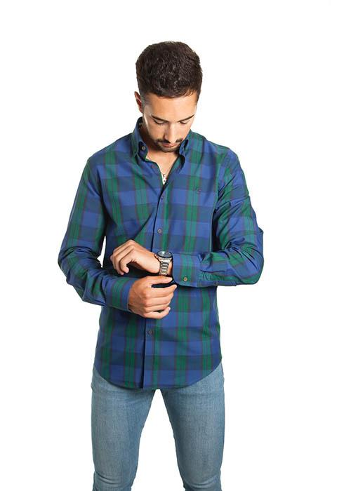 Camisa Cuadros Verde y Azul 1