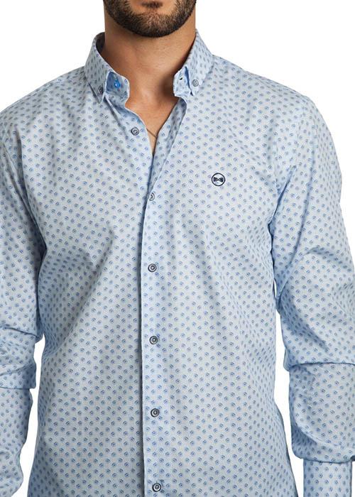 Camisa Estampada Flores Azul 2