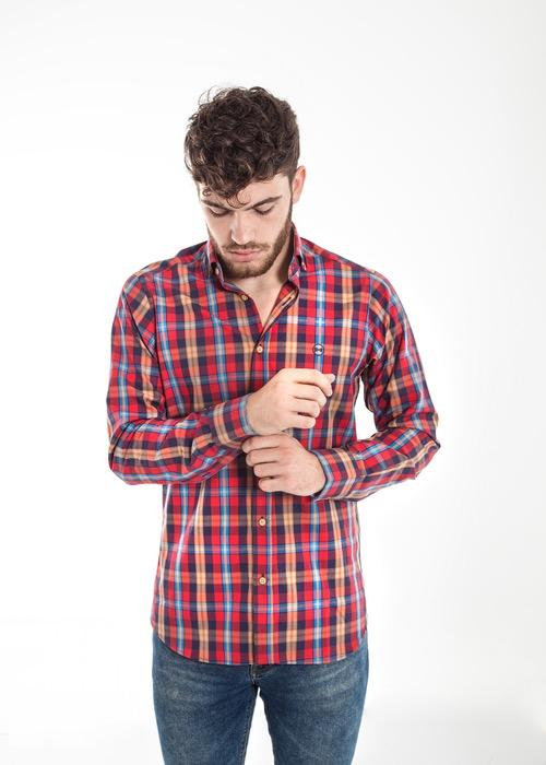 Camisa Cuadros Rojo/Marino/Beig 1