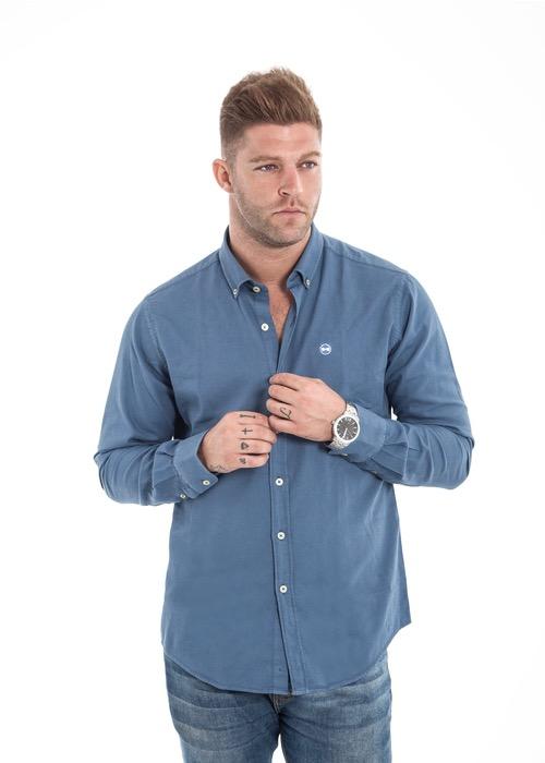 Camisa Nido Abeja Azul 1
