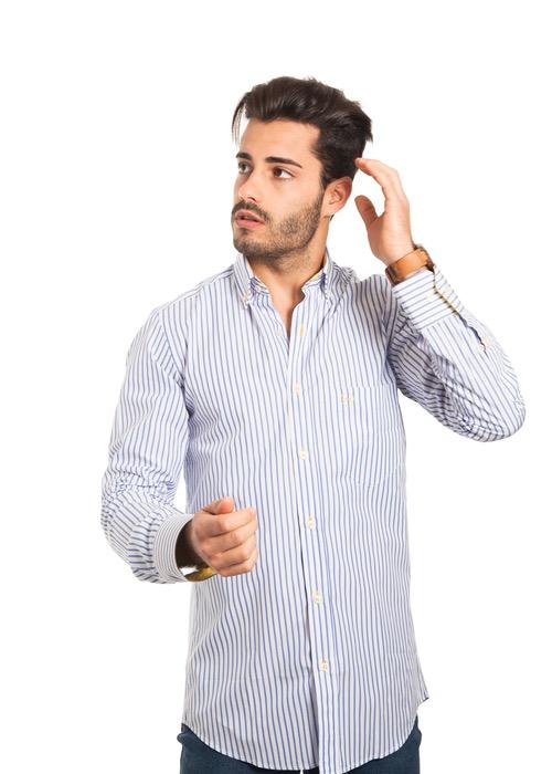 Camisa Rayas Celeste 1