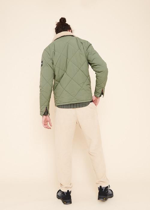 Chaqueta Acolchada Verde Cuello Piel 2