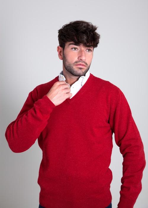 "Jersey V ""Lambswool"" Rojo 1"